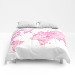 Pink watercolor world map Comforters