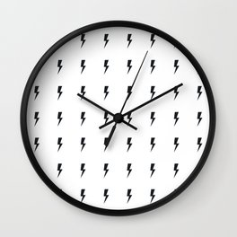 Black Lightning on White Wall Clock