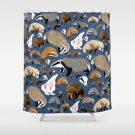 Eurasian badgers pattern Blue Shower Curtain