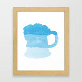 Oktoberfest Bavarian October Beer Festival Beer Mug in Bavarian Blue Framed Art Print