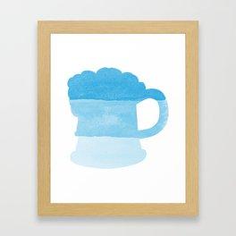 Oktoberfest Bavarian October Beer Festival Beer Mug in Bavarian Blue Framed Art Print