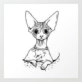 Big Eyed Pretty Wrinkly Kitty - Sphynx Cat Illustration - Nekkie - Cat Lover Gift Art Print