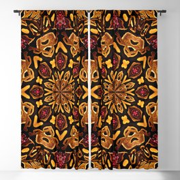 Ball Python Mandala with Red Garnets Blackout Curtain