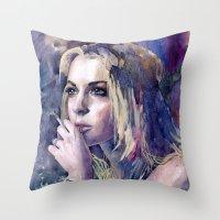 "lindsay lohan Throw Pillows featuring ""Lindsay Lohan"" by Emma Reznikova"