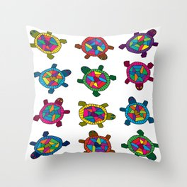 Multi Color Turtles Throw Pillow