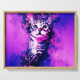 pianca baby cat kitten splatter watercolor purple pink Serving Tray
