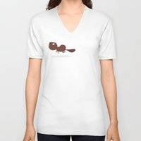 beaver V-neck T-shirts featuring Beaver by ValD