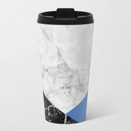 White Marble Black Granite & Blue #509 Travel Mug