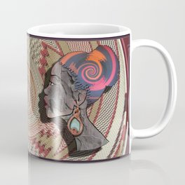 African woman profile on a woven basket Coffee Mug