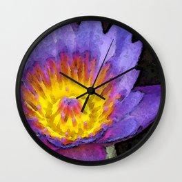 Purple Lotus Flower - Zen Art Painting Wall Clock