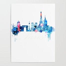 Colorful watercolor Paris skyline Poster