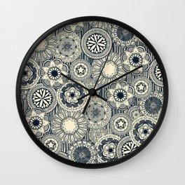 mandala cirque indigo cream Wall Clock