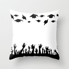 Students Throwing Caps Throw Pillow
