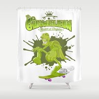 chameleon Shower Curtains featuring Chameleon by Ferguccio