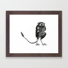 Say Cheese! | Tarsier with Vintage Camera | Black and White Framed Art Print