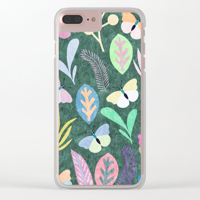 Flower and Butterfly IV Clear iPhone Case