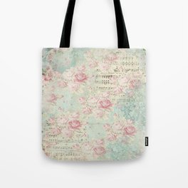 Shabby Chic Floral Collage - Heather Floral Tote Bag