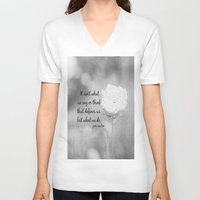 jane austen V-neck T-shirts featuring Jane Austen Quote What We Do by KimberosePhotography