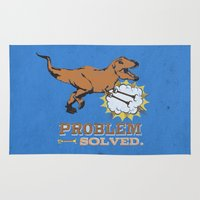 trex Area & Throw Rugs featuring problem solved... trex with arms.. by studiomarshallarts