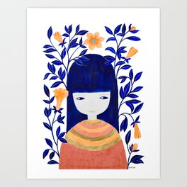 girl with blue leaves and orange flowers illustration Art Print