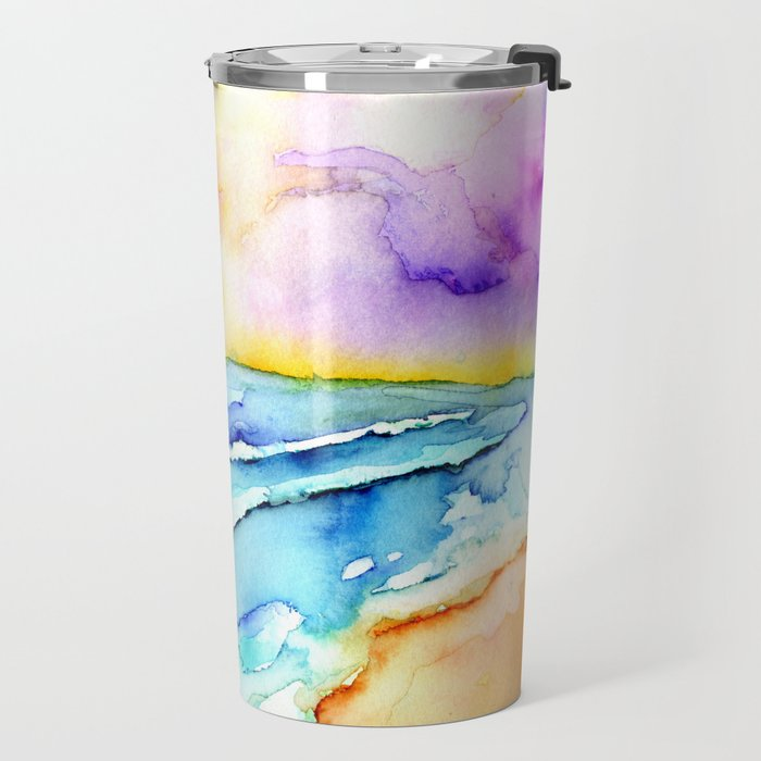 violet clouds - beach at sunset Travel Mug