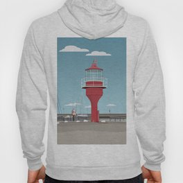 The lighthouse in the harbour in Skanor - light Hoody