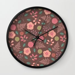 Boho Floral Mix Wall Clock