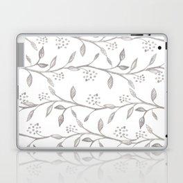 Gray ivory hand drawn watercolor leaves floral berries pattern Laptop & iPad Skin