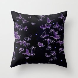 butterfly pattern in black and purple Throw Pillow