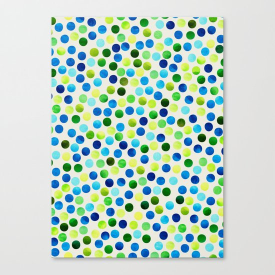 Watercolor Dots_Aqua by Jacqueline and Garima Canvas Print