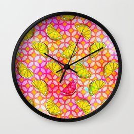 Rainbow Pastel Lemon & Lime Watercolor, Pink & Yellow Green Flowers - a Summer Fruit Party Wall Clock