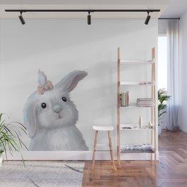 White Rabbit Girl isolated Wall Mural