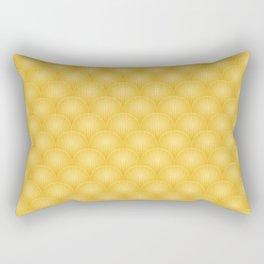 Bright Gold Art Deco Curved Fan Pattern Rectangular Pillow