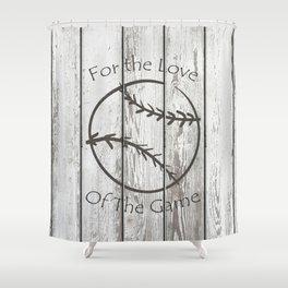 Baseball on a Fence Shower Curtain