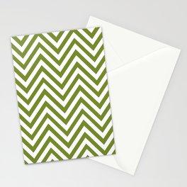 Zigzag Pattern, Chevron Pattern - White Green Stationery Cards