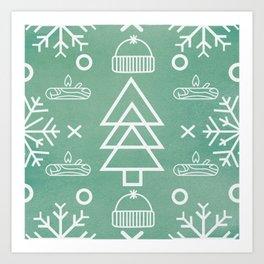 Winter Green Pattern Art Print