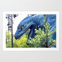 dinosaur Art Prints featuring Dinosaur  by Bakal Evgeny