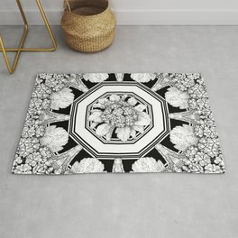 Deconstructed Florals With Geometrical  Rug