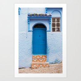 Blue door in Chefchaouen Morocco photography print Art Print