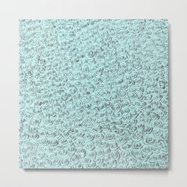 Aqua and Gray Rose Flurry Metal Print