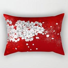 Red skies and white sakuras Rectangular Pillow