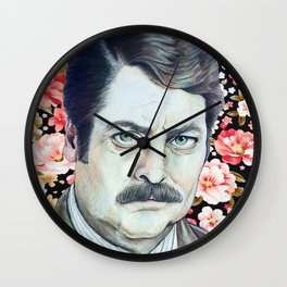 Ron Swanson - Floral Wall Clock