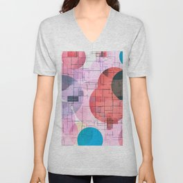 geometric square and circle pattern abstract in red pink blue Unisex V-Neck