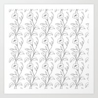 Floral Drawing in black and white Art Print