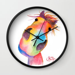 Happy Horse ' GoRGEOUS GWiNNY ' By Shirley MacArthur Wall Clock