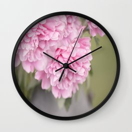 Pink Peonies On A Green And Grey Background #society6 #buyart Wall Clock