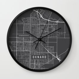 Oxnard Map, USA - Gray Wall Clock