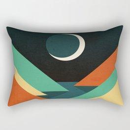 Quiet stream under crescent moon Rectangular Pillow