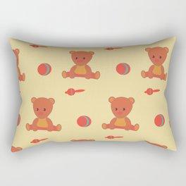 Beige pattern with a brown teddy bear, a ball and a maracas. Rectangular Pillow