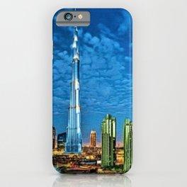 Burj Khalifa Skyscraper Dubai United Arab Emirates (UAE) City Lights Portrait iPhone Case